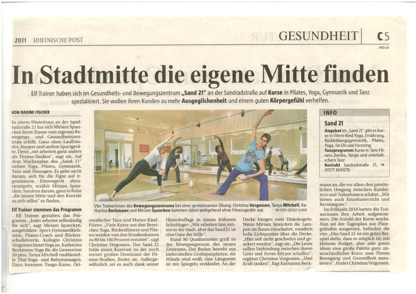 Praventionskurse Pilates Yoga Ruckenfitness Bei Sand21 Ihrem Zentrum Fur Bewegung Und Gesundheit Im Herzen Von Monchengladbach